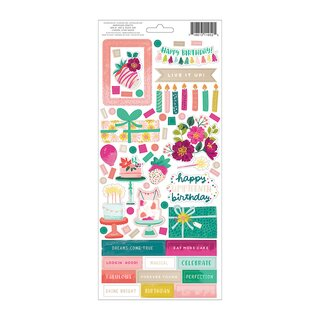 Pink Paislee - And Many More - 6x12 Sticker Sheet (Champagne Foil)