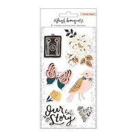 Crate Paper - Fresh Bouquet - Embossed Puffy Stickers